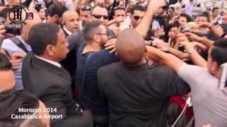 استقبال تامر حسني في مطار المغرب 11 ابريل 2014