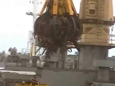 Радиоуправляемый дизельно-гидравлический судовой грейфер ORTS для перегрузки металлолома