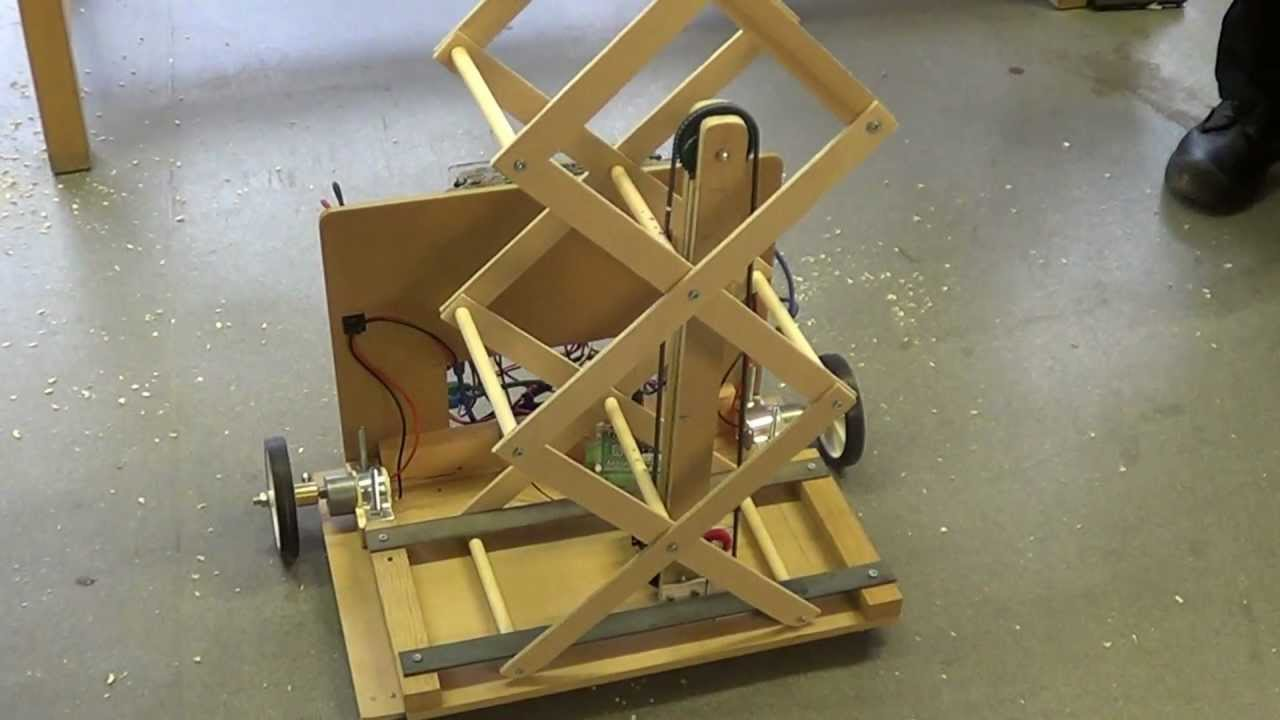 Student robotics thunderbots scissor lift prototype for Diy motorized pulley system