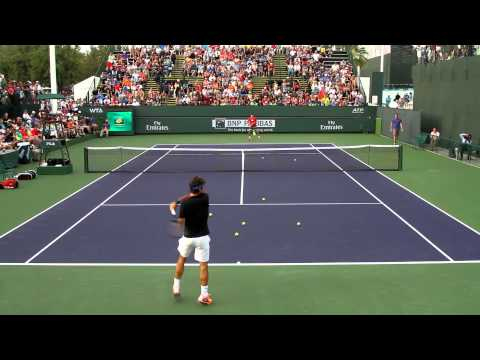 Roger Federer Practice 2014 BNP Paribas Open Part 1