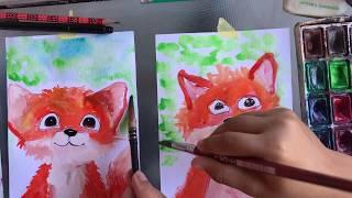 ЛИСЁНОК. Рисование для детей. Рисуем с Глебом. Акварель. Легко!)