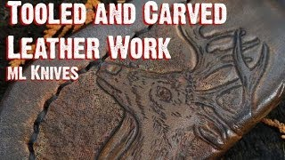 Detailed Tooling And Carved Leather Work On Custom Knife Sheaths