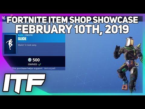 Fortnite Item Shop *NEW* SLICK EMOTE! [February 10th, 2019] (Fortnite Battle Royale)