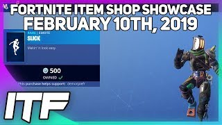 Fortnite Item Shop *NEW* SLICK EMOTE! [February 10th, 2019] (Fortnite Battle Royale)