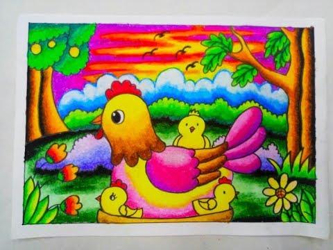 Cara Mewarnai Gradasi Dengan Crayon/Oilpastel : Chicken