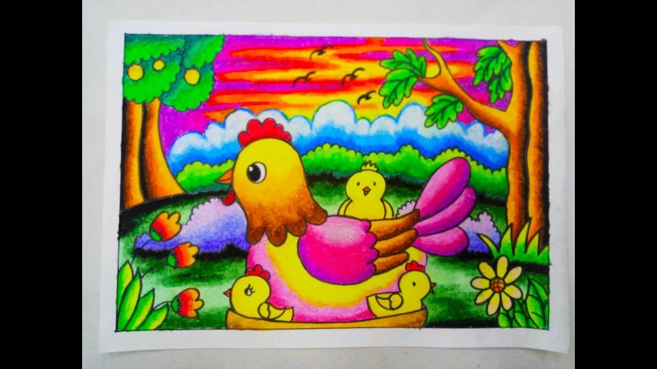 Cara Mewarnai Gradasi Dengan Crayonoilpastel Chicken Youtube