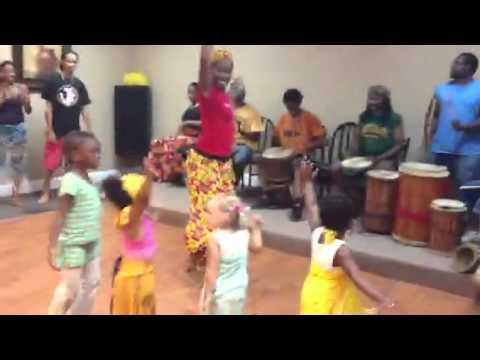 Penelope's first African dance class
