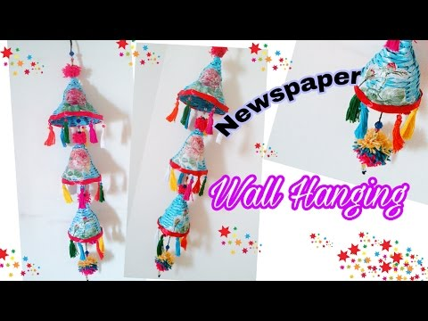 DIY Colorful Newspaper Wall Hanging / Wind Chimes / Newspaper Craft