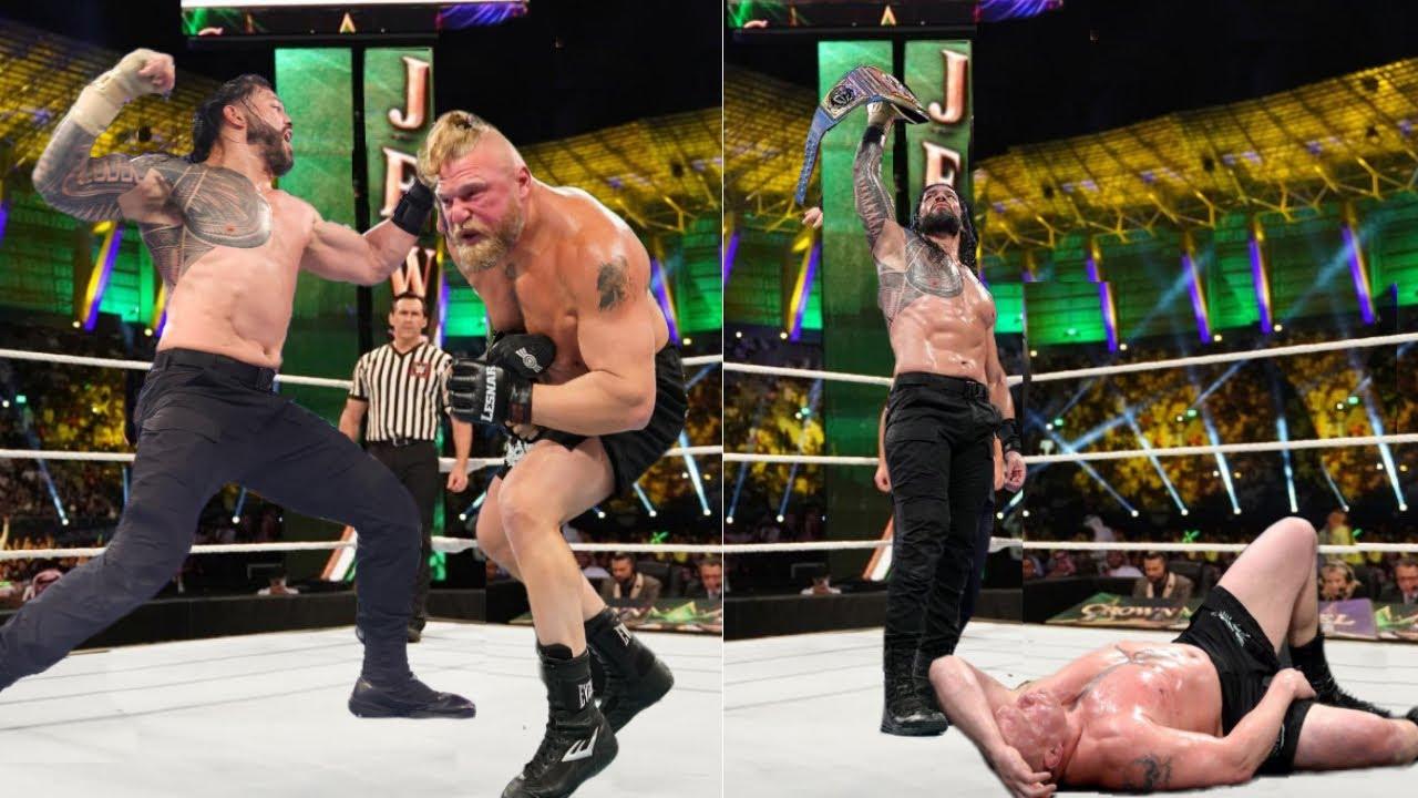 WWE Crown Jewel 2021 - Roman reigns vs Brock Lesnar Universal Championship Match | Brock Wins 3-2