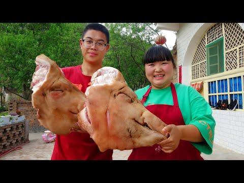 【陕北霞姐】两个大猪头,夏天这样吃太过瘾,凉拌+爆炒,肥而不腻特别香!