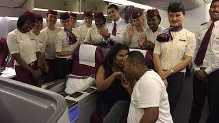 Qatar airways flight marriage proposal Doha to Dubai Nur and Mesay
