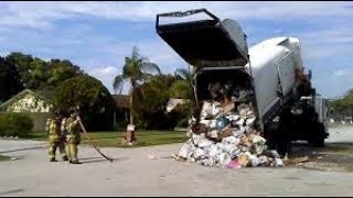 AMAZING -  FIRE DEPT SAVE GARBAGE TRUCK ON FIRE