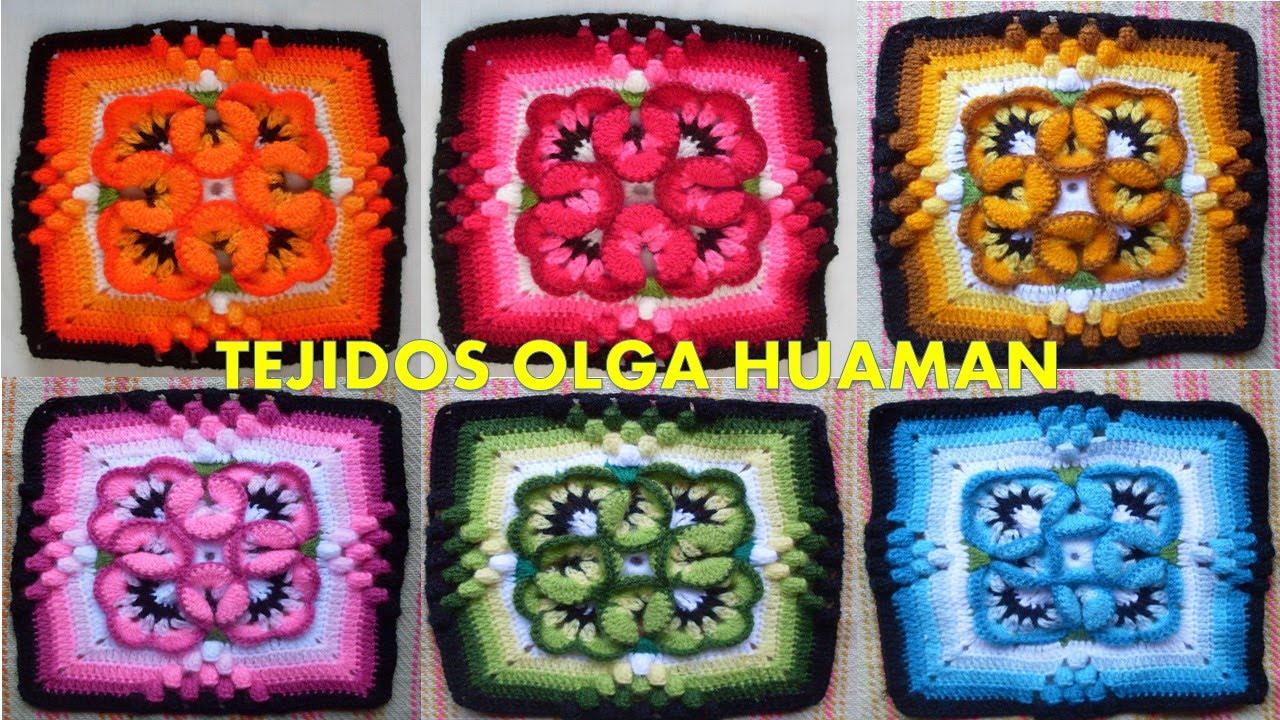 Muestra para colcha tejido a crochet pensamiento peque o - Como hacer colcha de ganchillo ...