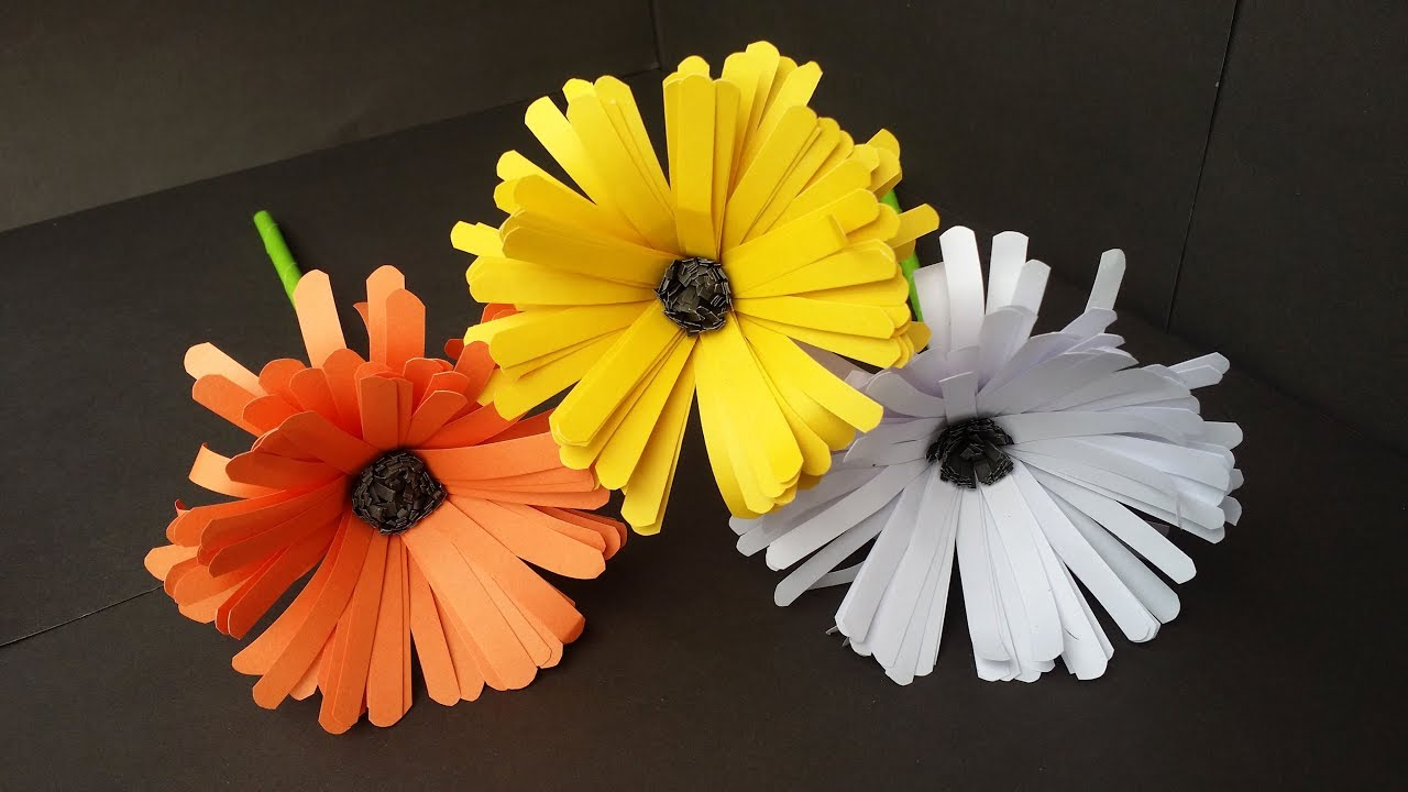 Diy How To Make Easy Beautiful Aster Flower With Colour Paper