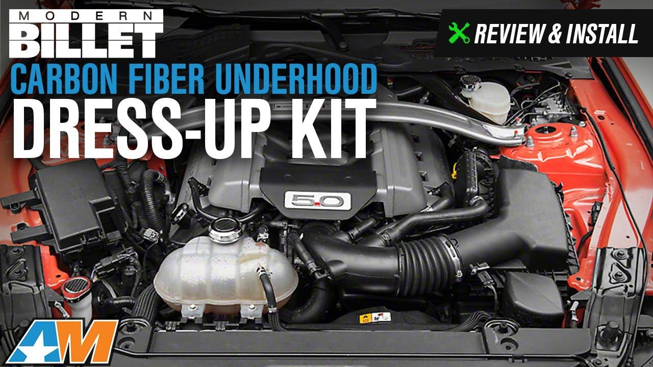 modern billet mustang carbon fiber underhood dress up kit 397604 15 17 gt v6  [ 1280 x 720 Pixel ]