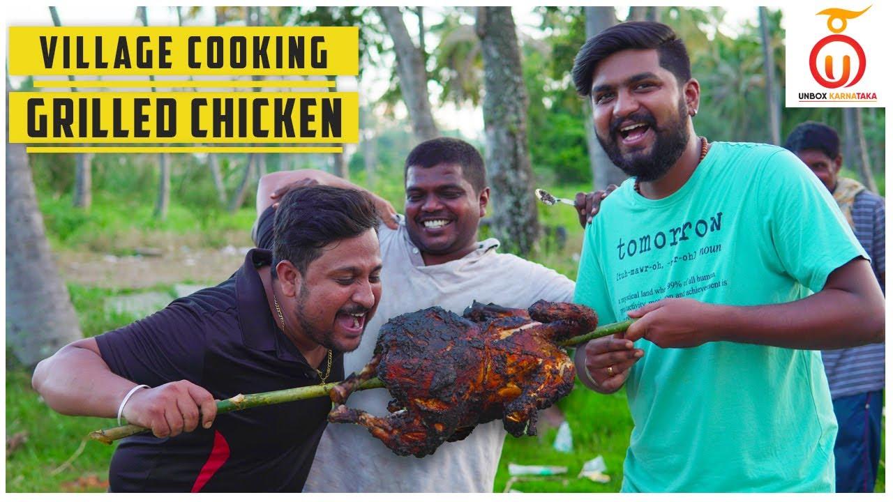 Village Cooking Kannada   ಒಂಥರಾ Chicken Grill   Unbox Karnataka   Kannada Food Review