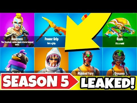*LEAKED* ALL SEASON 5 SKINS, BACK BLING, GLIDERS, PICKAXE! ALL NAMES AND PICTURES! (Fortnite BR 5.0)