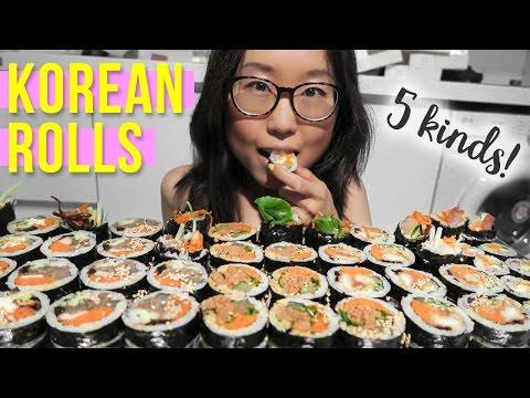 KOREAN FOOD MUKBANG with cream cheese walnut kimbap, bulgogi kimbap, almond kimbap & more!