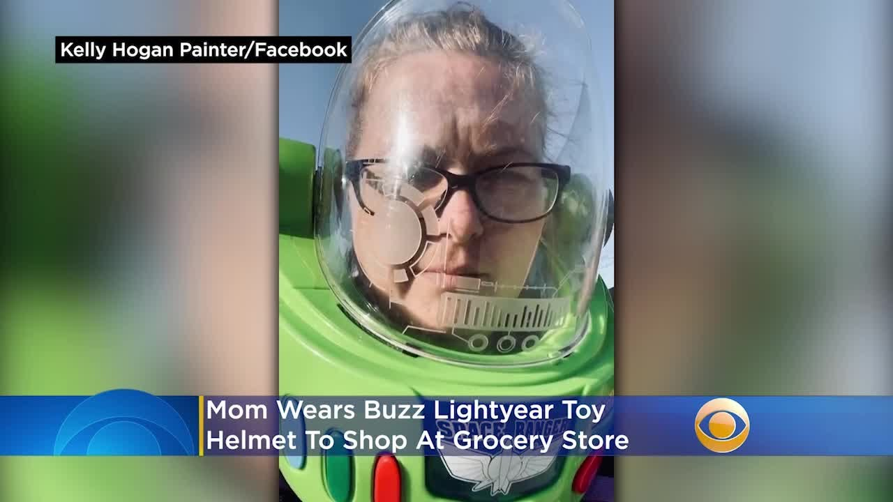 Mom Wears Buzz Lightyear Toy Helmet To Shop At Grocery Store