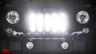 2007 2016 jeep wrangler jk vertical 8 inch led light bar grille mount kit by rough country