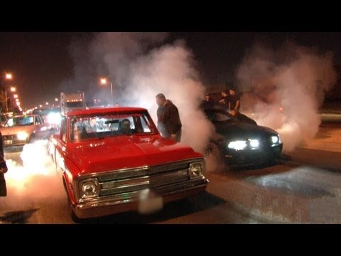 L.A. Street Racing - 1000hp + Nitrous C10 vs 700hp Mustang