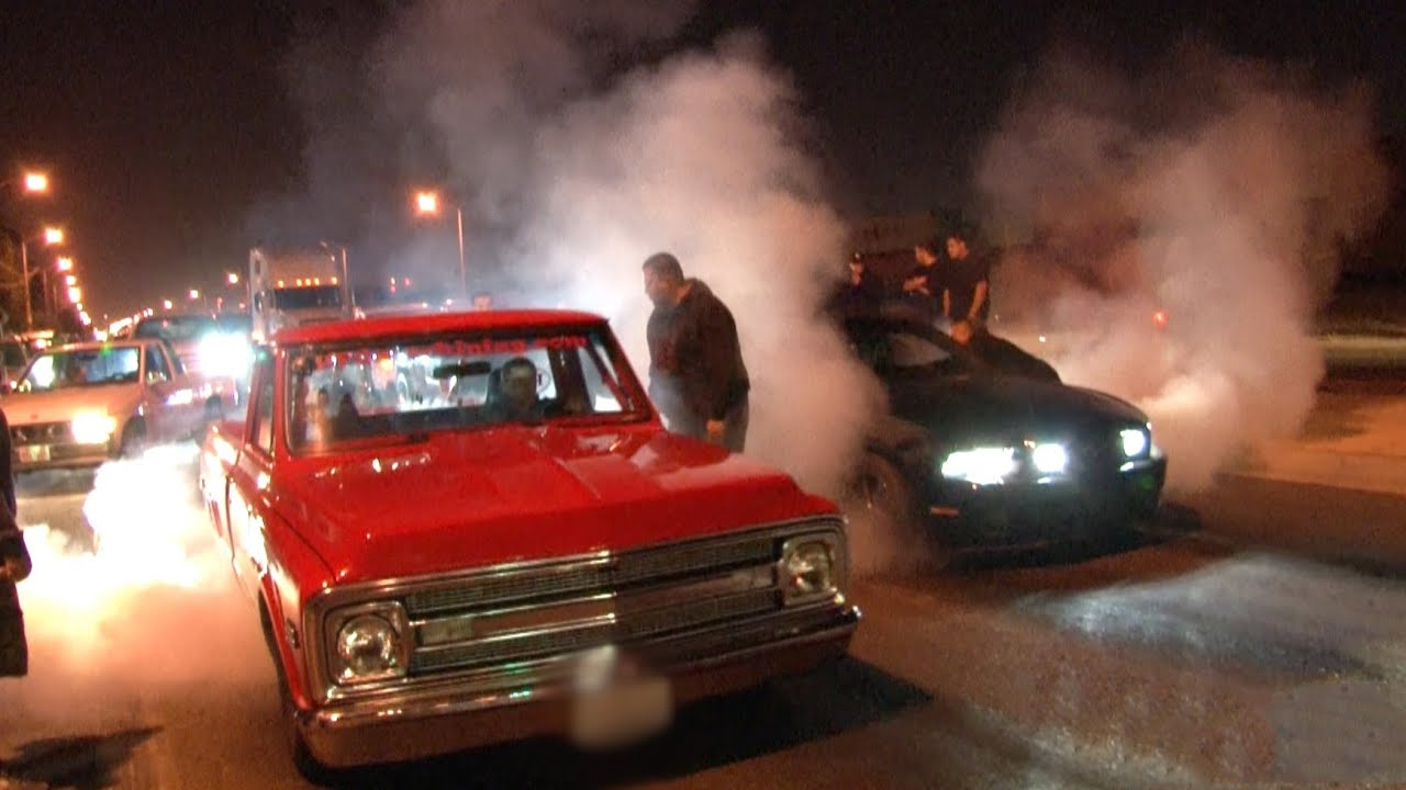 L.A. Street Racing - 1000hp + Nitrous C10 vs 700hp Mustang - YouTube