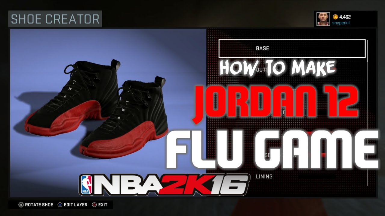NBA 2K16 SHOE CREATOR | JORDAN 12 FLU GAME | NBA 2K16
