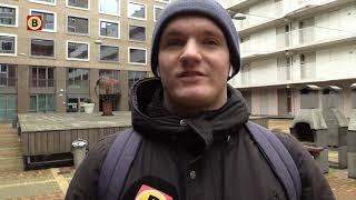 Daklozen slapen in trapportaal TalentSquare in Tilburg.