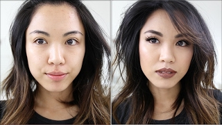 Brown with Gold Accent Makeup Tutorial with Bold Brown Lips | beautybitten