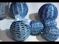 Woven ball shaped decoration for a Christmas tree