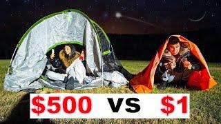 $1 VS $500 OVERNIGHT SURVIVAL CHALLENGE!