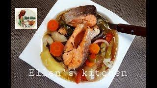 Очень вкусное блюдо из рыбы Форель с овощами по Армянски'Soupa fish Forrel. Armenian Food''