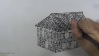 Old Filipino House Drawing in Ink - Bahay na Bato
