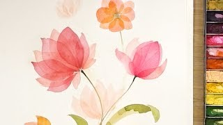 Layered Watercolor Flowers