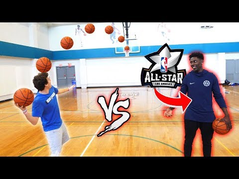 CRAZY BASKETBALL TRICKSHOTS VS NBA ALL STAR JRUE HOLIDAY!