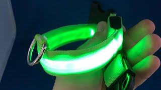 ✅ 1$ Dog Cat Collar Glow in Dark Led from AliExpress.com unboxing haul euro app