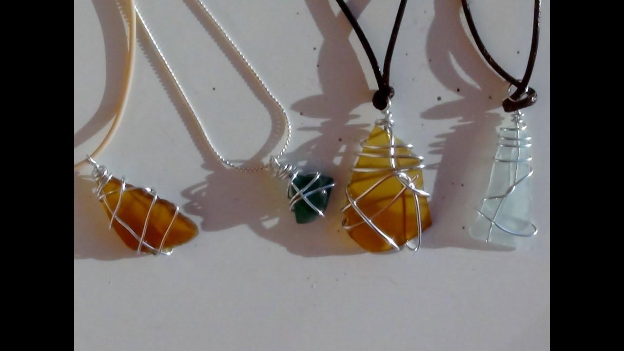 e1028e603272 Cómo realizar colgantes para collares con tesoros de la playa - con vidrios  de botellas