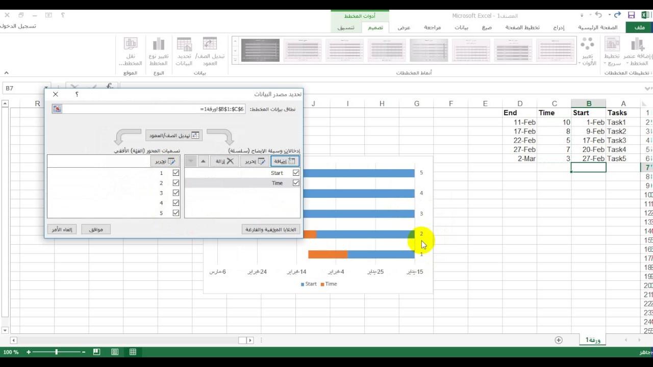 طريقة عمل جدول زمني باستخدام اكسل 2013 الطريقة الأولى Youtube