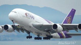 Thai Airways International Airbus A380-800 (HS-TUB) takeoff from KIX/RJBB (Osaka Kansai) RWY 06R