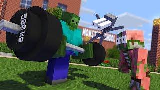 Monster School : FUNNY FITNESS TRAINING CHALLENGE - Minecraft Animation