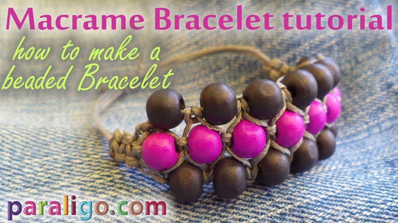 Macrame Bracelet Tutorial: How to make a beaded bracelet - YouTube