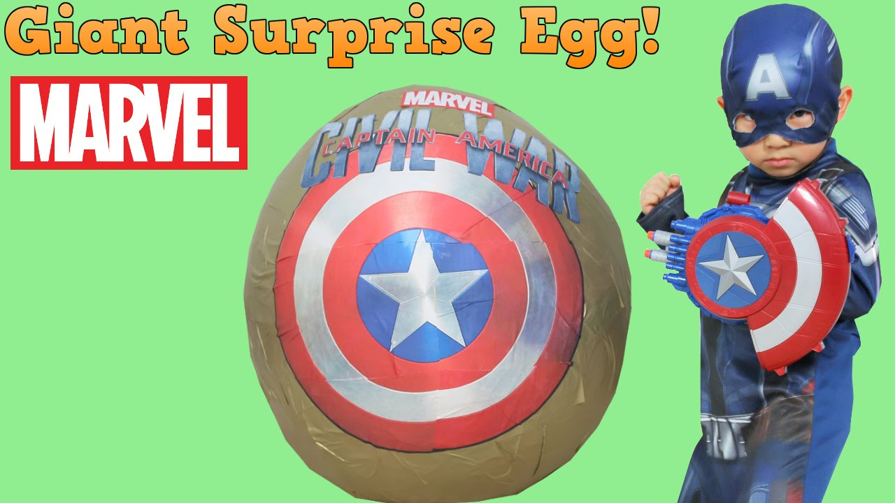 Captain America Civil War Super Giant Surprise Toys Egg Opening Fun With Ckn Toys