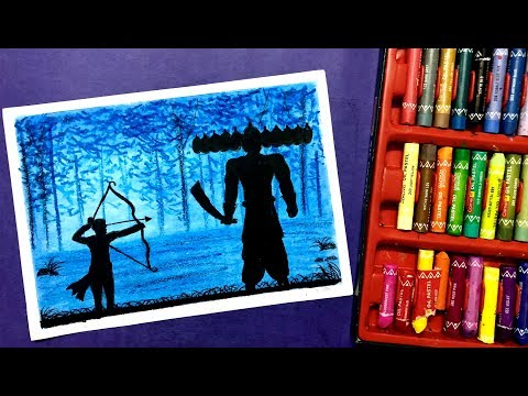 Dussehra Drawing For Beginners With Oil Pastels Youtube