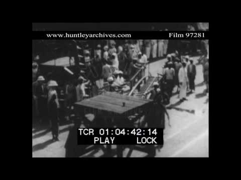 Arrival in Singapore in 1929.  Archive film 97281