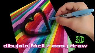 COMO DIBUJAR UN CORZON | 3D | MULTICOLOR | how to draw a 3d heart