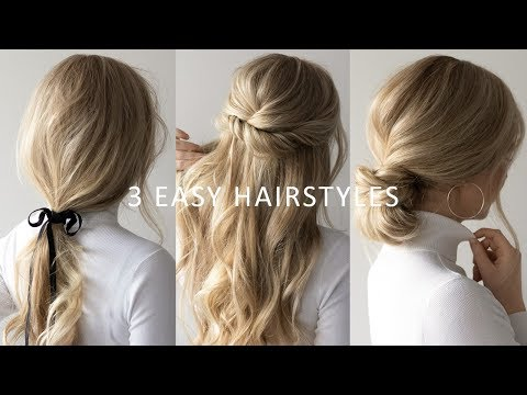 THREE 3 MINUTE EASY HAIRSTYLES 💕 | 2019 Hair Trends - YouTube