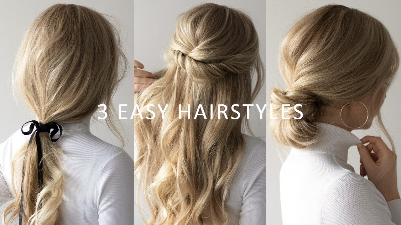 three 3 minute easy hairstyles 💕 | 2019 hair trends