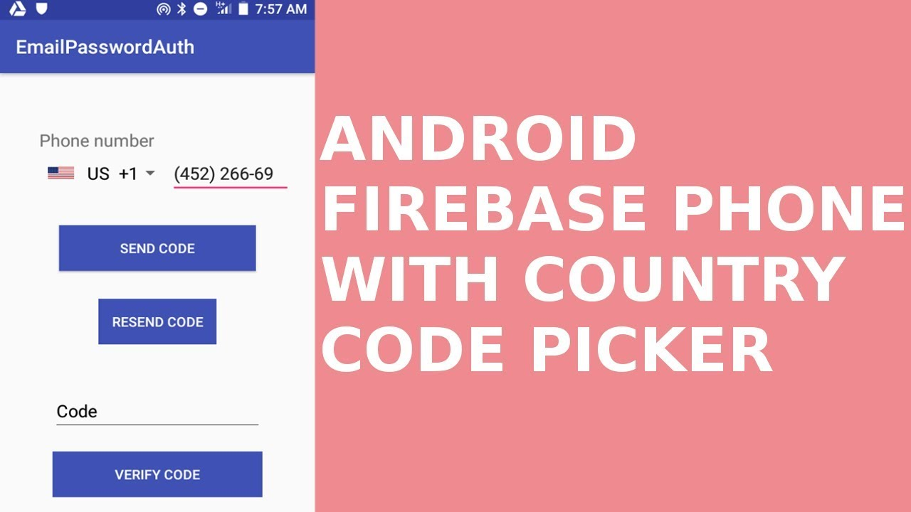 ANDROID FIREBASE PHONE AUTHENTICATION WITH COUNTRY CODE PICKER