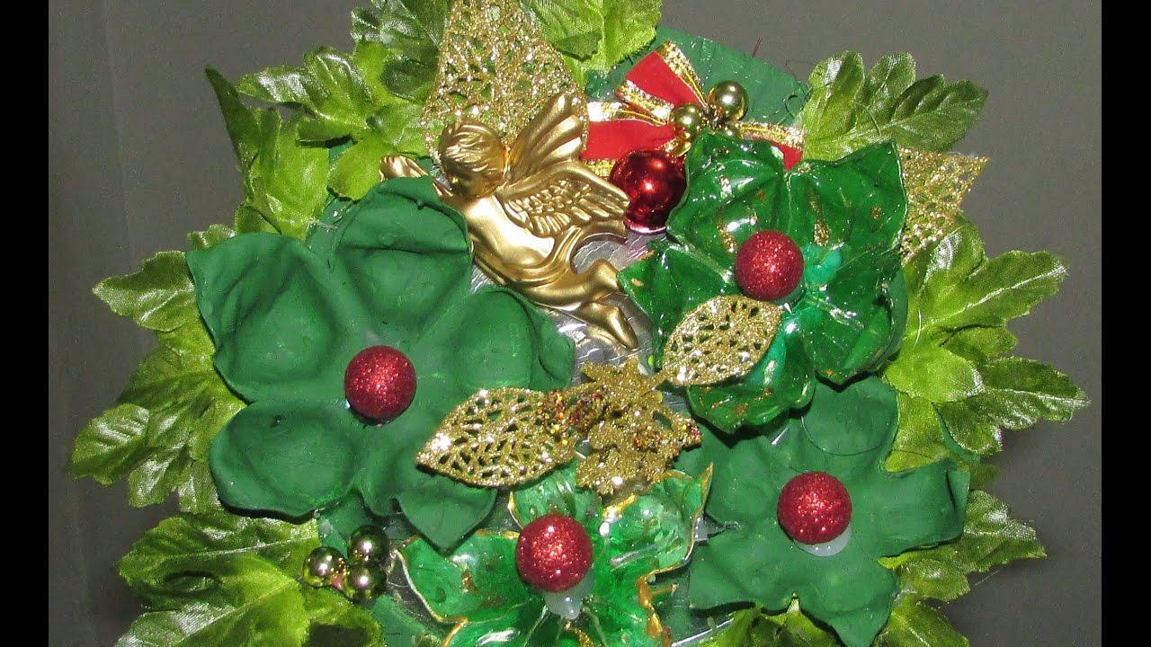 Como fazer decoraç u00e3o de natal usando garrafa pet YouTube -> Decoração De Natal De Mesa Com Garrafa Pet