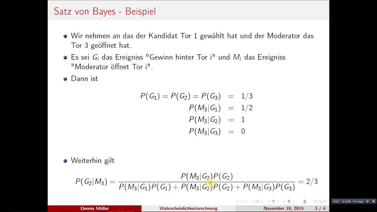 Bayes Theorem Satz Von Bayes Beispiel 1 Wahrscheinlichkeitsrechnung